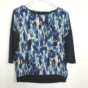 COS Small Top Watercolor Silk Blend 3/4 Sleeve